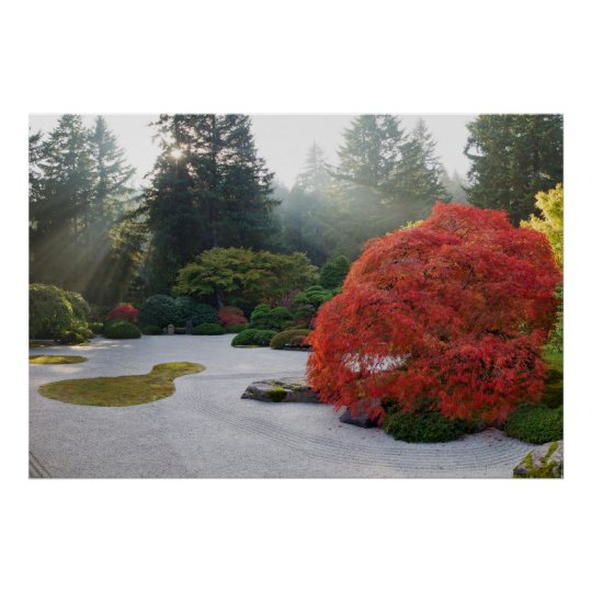Japanese Flat Sand Garden Foggy Afternoon Poster