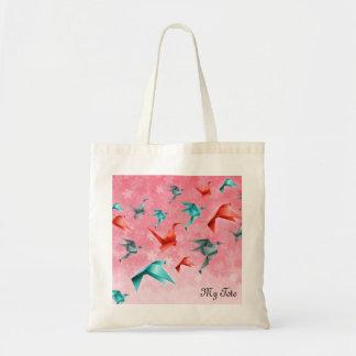 Japanese Floral and Origami Crane Design Tote Bag