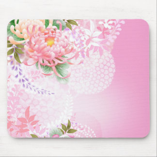 Japanese Floral Art Mums Pink White Green Mouse Pad