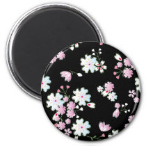 japan, japanese, blossom, floral, pink, bueatiful, cute, flower, design, traditional, vintage, spring, feminin, pattern, asia, oriental, china, chinese, black, cool, graphic, cherry-blossom, nature, beauty, beautiful, illustration, cherry blossom, feminine, Ímã com design gráfico personalizado