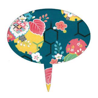 Japanese floral geometrical pattern cake topper
