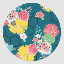 Japanese floral geometrical pattern classic round sticker