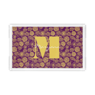 Japanese Floral Plum Curry Flowers Monogram Tray