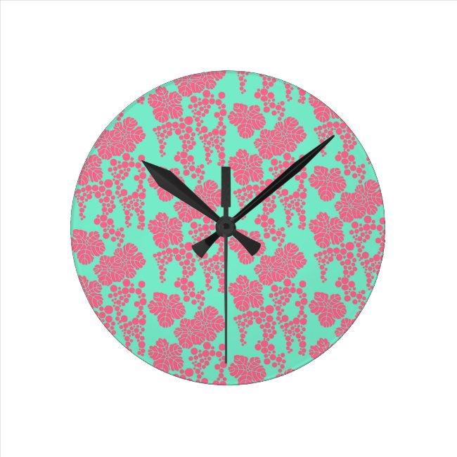 Japanese Floral Print - Pink & Teal Clock