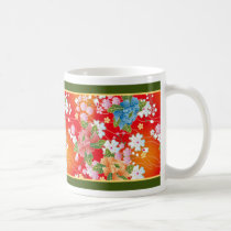 asia, blossom, bueatiful, china, cute, design, feminin, floral, flower, japan, japanese, kimono, oriental, pattern, red, spring, traditional, vintage, Caneca com design gráfico personalizado