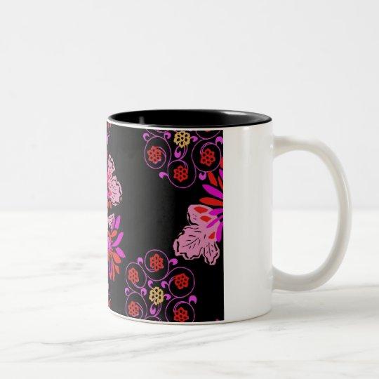 japanese floral Two-Tone coffee mug