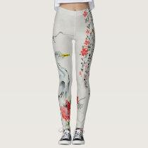 Japanese Floral Vines & Crane Designs Leggings