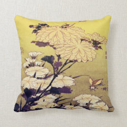 Japanese Flower Art Throw Pillow