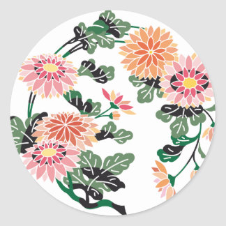 Japanese Flower Circle Classic Round Sticker