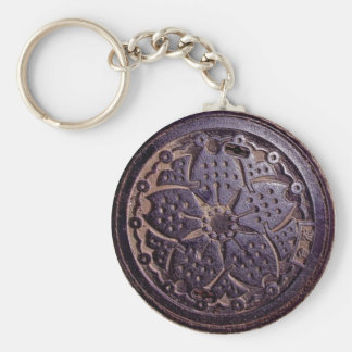 japanese flower cover basic round button keychain