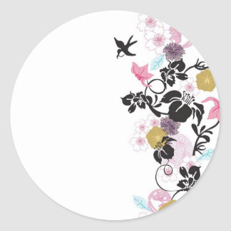 Japanese flowers and birds round stickers