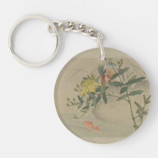 Japanese Flowers and Stream Double-Sided Round Acrylic Keychain