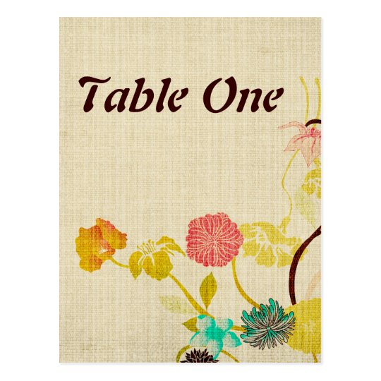 Japanese flowers table number Postcard