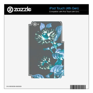 Japanese Flowers Teal Taupe Gray iPod Touch 4G Decals