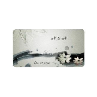 Japanese Flowers Wedding Label