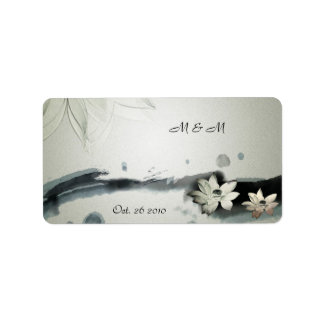 Japanese Flowers Wedding Label Address Label