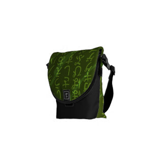 Japanese Fonts on Green Background Messenger Bag