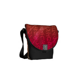 Japanese Fonts on Red Background Messenger Bag