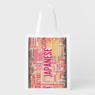 Japanese Food and Cuisine Menu Background Reusable Grocery Bag