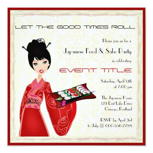 Japanese Food Sushi Party Custom Invitation