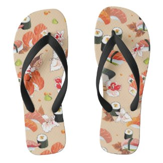 Japanese Food: Sushi Pattern 3 Flip Flops