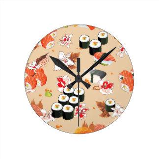 Japanese Food: Sushi Pattern 3 Round Clock