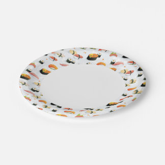 Japanese Food: Sushi Pattern 7 Inch Paper Plate