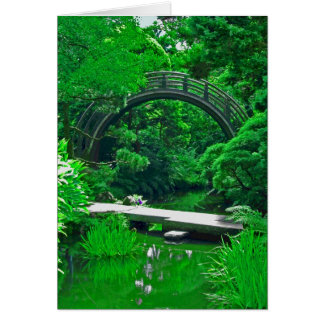 Japanese Garden Bridges photo painting card