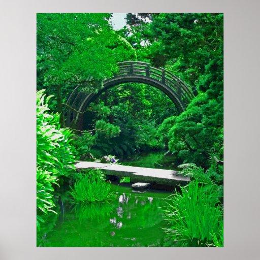 Japanese Garden Bridges photo painting Poster