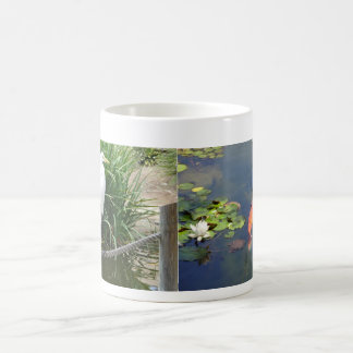 Japanese Garden Crane Bird Koi and Lily Pond Mug
