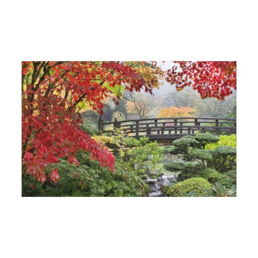 Japanese Garden in Fall Stretched Canvas Print
