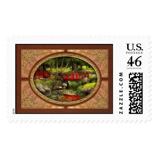 Japanese Garden - Meditation Postage Stamp