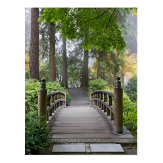 Japanese Garden One Foggy Morning Postcard