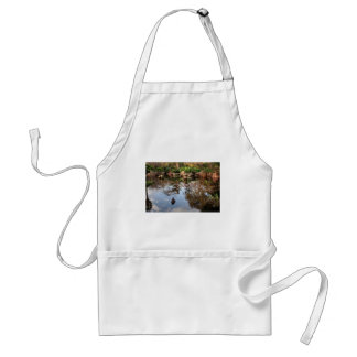 Japanese garden pond and duck adult apron