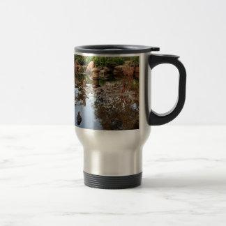 Japanese garden pond and duck travel mug