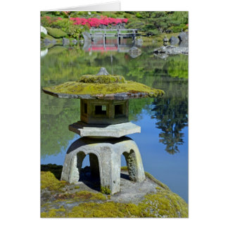 Japanese garden pond and shrine greeting card