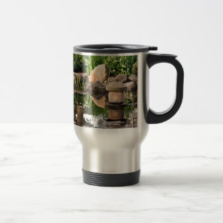 Japanese garden pond 15 oz stainless steel travel mug