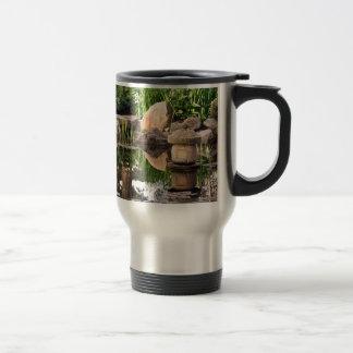 Japanese garden pond travel mug