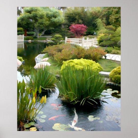 Japanese Garden Pond with Koi Poster