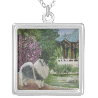 Japanese Garden Square Pendant Necklace