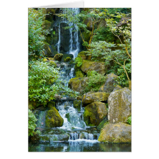 """Japanese Garden Waterfall"" Card"