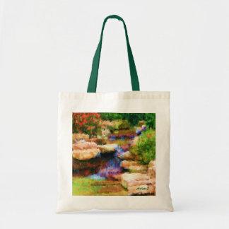 Japanese Garden Waterfall Cascade Art Budget Tote