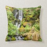Japanese Garden Waterfall Throw Pillows