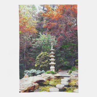 Japanese Garden With Pagoda Kitchen Towel