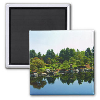 Japanese Gardens at the Denver botanical gardens. 2 Inch Square Magnet
