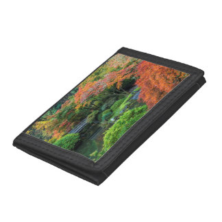 Japanese Gardens In Autumn In Portland, Oregon 3 Tri-fold Wallets