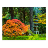 Japanese Gardens In Autumn In Portland, Oregon Postcard