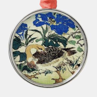 Japanese Geese Woodblock Art Ukiyo-E Vintage Metal Ornament