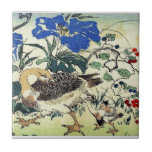 """Japanese Geese Woodblock Art Ukiyo-E Vintage Tile<br><div class=""""desc"""">Two geese against a backdrop of vibrant flowers in a traditional Japanese art print,  also called woodblock,  woodcut or ukiyo-e.</div>"""