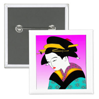 Japanese Geisha 2 Inch Square Button